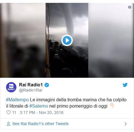 Twitter post by @Radio1Rai: #Maltempo Le immagini della tromba marina che ha colpito il litorale di #Salerno nel primo pomeriggio di oggi 👇🏻