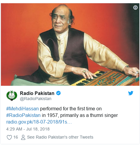 Twitter post by @RadioPakistan: #MehdiHassan performed for the first time on #RadioPakistan in 1957, primarily as a thumri singer