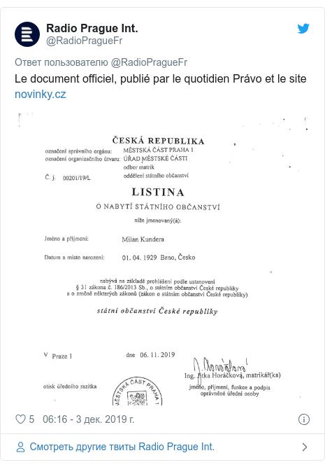 Twitter пост, автор: @RadioPragueFr: Le document officiel, publié par le quotidien Právo et le site
