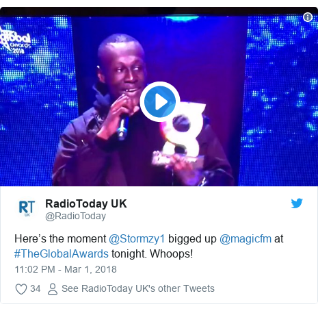 Twitter post by @RadioToday: Here's the moment @Stormzy1 bigged up @magicfm at #TheGlobalAwards tonight. Whoops!