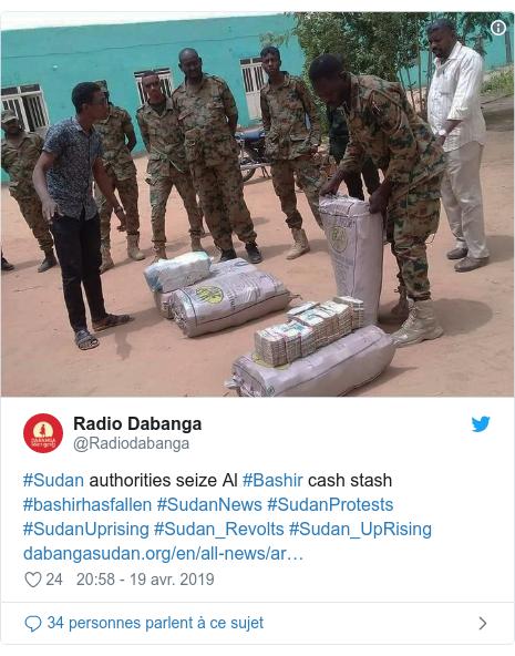 Twitter publication par @Radiodabanga: #Sudan authorities seize Al #Bashir cash stash #bashirhasfallen #SudanNews #SudanProtests #SudanUprising #Sudan_Revolts #Sudan_UpRising