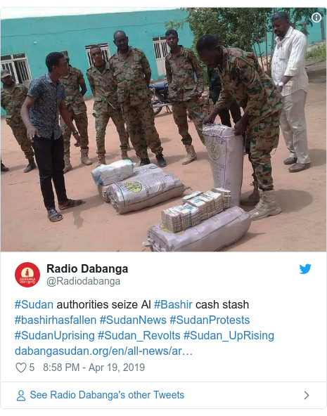 Twitter post by @Radiodabanga: #Sudan authorities seize Al #Bashir cash stash #bashirhasfallen #SudanNews #SudanProtests #SudanUprising #Sudan_Revolts #Sudan_UpRising