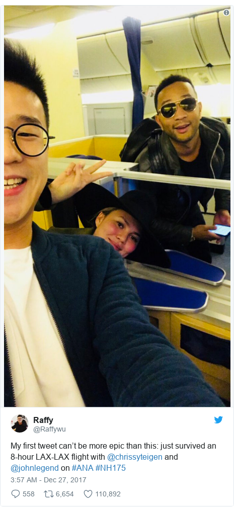 Twitter post by @Raffywu: My first tweet can't be more epic than this  just survived an 8-hour LAX-LAX flight with @chrissyteigen and @johnlegend on #ANA #NH175