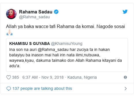 Twitter wallafa daga @Rahma_sadau: Allah ya baka wacce tafi Rahama da komai. Nagode sosai 🙏🏻
