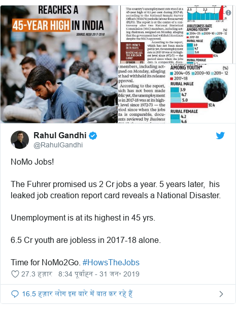 ट्विटर पोस्ट @RahulGandhi: NoMo Jobs! The Fuhrer promised us 2 Cr jobs a year. 5 years later,  his leaked job creation report card reveals a National Disaster. Unemployment is at its highest in 45 yrs. 6.5 Cr youth are jobless in 2017-18 alone. Time for NoMo2Go. #HowsTheJobs