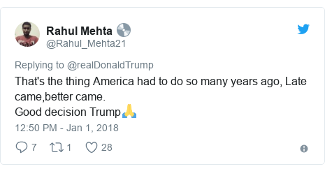 Twitter post by @Rahul_Mehta21: That's the thing America had to do so many years ago, Late came,better came.Good decision Trump🙏