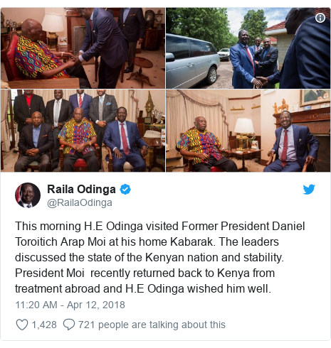 Ujumbe wa Twitter wa @RailaOdinga: This morning H.E Odinga visited Former President Daniel Toroitich Arap Moi at his home Kabarak. The leaders discussed the state of the Kenyan nation and stability. President Moi  recently returned back to Kenya from treatment abroad and H.E Odinga wished him well.