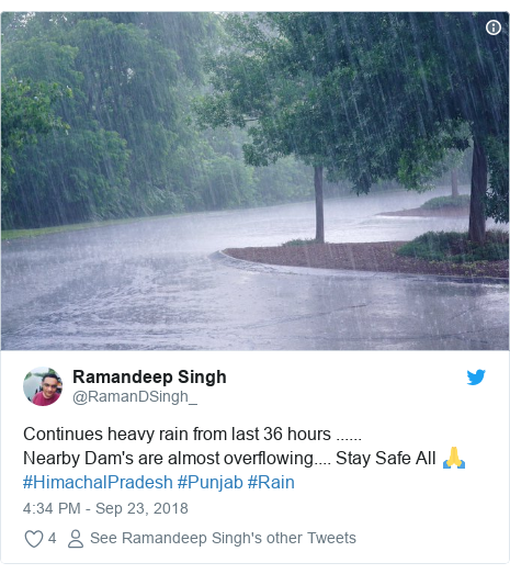 Twitter post by @RamanDSingh_: Continues heavy rain from last 36 hours ...... Nearby Dam's are almost overflowing.... Stay Safe All 🙏#HimachalPradesh #Punjab #Rain