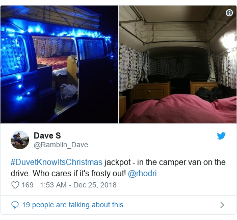Twitter post by @Ramblin_Dave: #DuvetKnowItsChristmas jackpot - in the camper van on the drive. Who cares if it's frosty out! @rhodri