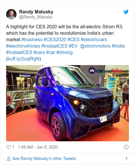 Twitter post by @Randy_Matusky: A highlight for CES 2020 will be the all-electric Strom R3, which has the potential to revolutionize India's urban market.#business #CES2020 #CES #electriccars #electricvehicles #IndiaatCES #EV  @strommotors #India #IndiaatCES #cars #car #driving ()