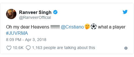 Twitter post by @RanveerOfficial: Oh my dear Heavens !!!!!!!! @Cristiano🤭⚽️ what a player #JUVRMA