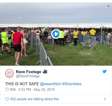 Twitter post by @RaveFootage: THIS IS NOT SAFE @wearefstvl #Shambles
