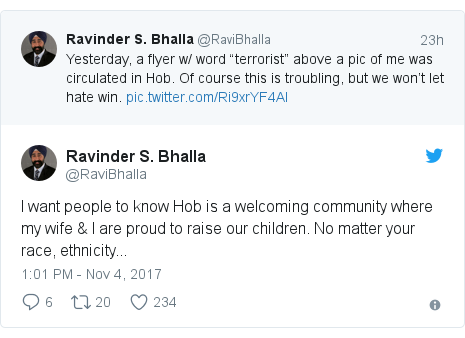 Twitter post by @RaviBhalla: I want people to know Hob is a welcoming community where my wife & I are proud to raise our children. No matter your race, ethnicity...