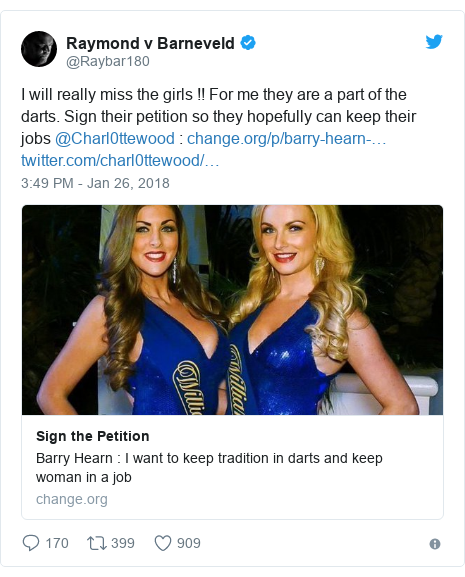 Twitter post by @Raybar180: I will really miss the girls !! For me they are a part of the darts. Sign their petition so they hopefully can keep their jobs @Charl0ttewood