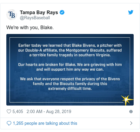 Twitter post by @RaysBaseball: We're with you, Blake.