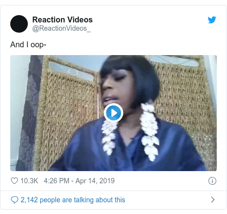 Twitter post by @ReactionVideos_: And I oop-