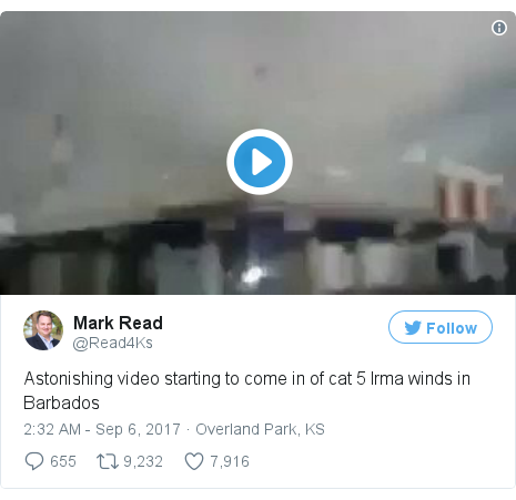 Twitter post by @Read4Ks: Astonishing video starting to come in of cat 5 Irma winds in Barbados pic.twitter.com/6vA1ysxvhV