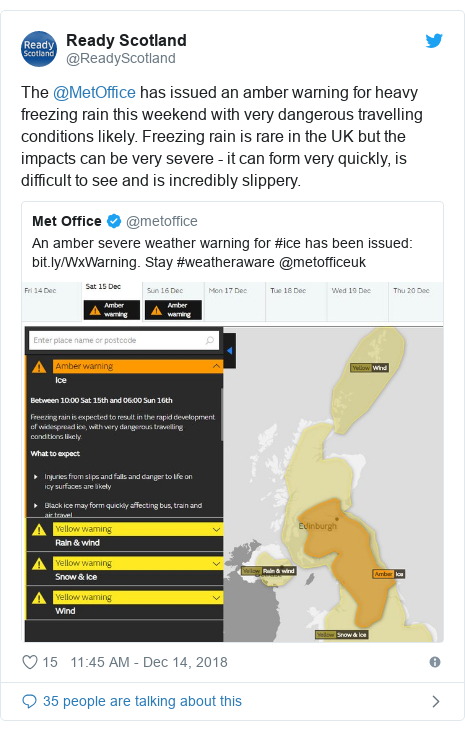 Twitter post by @ReadyScotland: The @MetOffice has issued an amber warning for heavy freezing rain this weekend with very dangerous travelling conditions likely. Freezing rain is rare in the UK but the impacts can be very severe - it can form very quickly, is difficult to see and is incredibly slippery.