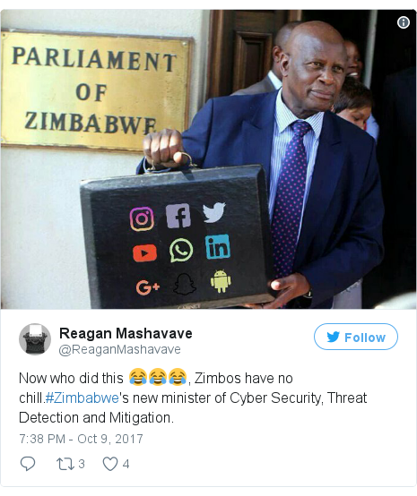 Twitter post by @ReaganMashavave: Now who did this 😂😂😂, Zimbos have no chill.#Zimbabwe's new minister of Cyber Security, Threat Detection and Mitigation.