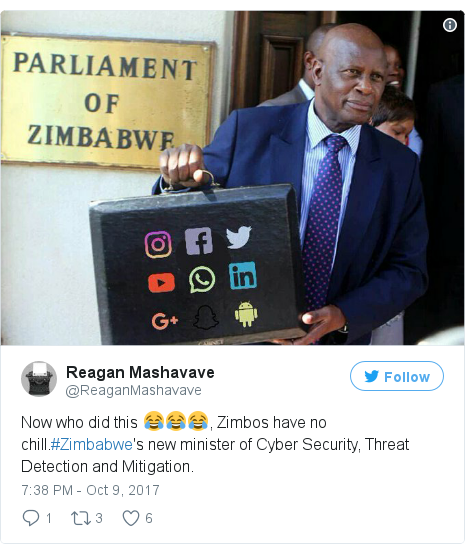 Twitter waxaa daabacay @ReaganMashavave: Now who did this 😂😂😂, Zimbos have no chill.#Zimbabwe's new minister of Cyber Security, Threat Detection and Mitigation.