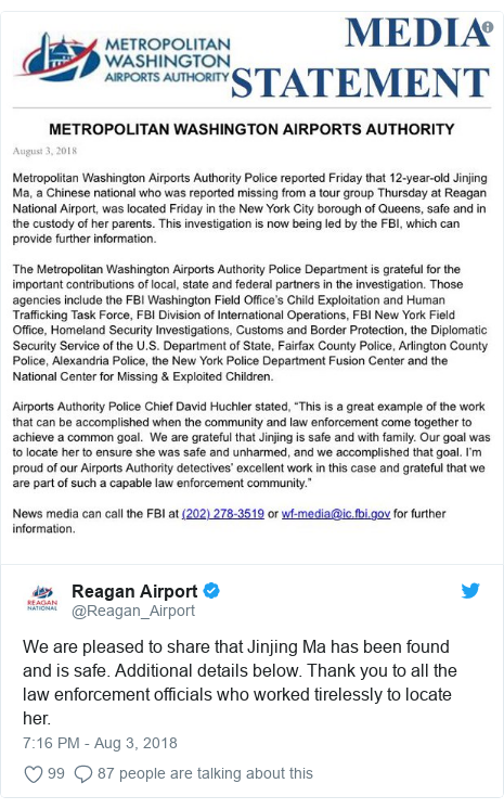 Twitter post by @Reagan_Airport: We are pleased to share that Jinjing Ma has been found and is safe. Additional details below. Thank you to all the law enforcement officials who worked tirelessly to locate her.