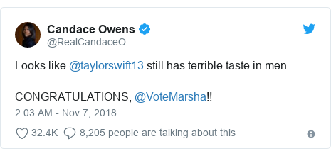 Twitter post by @RealCandaceO: Looks like @taylorswift13 still has terrible taste in men. CONGRATULATIONS, @VoteMarsha!!