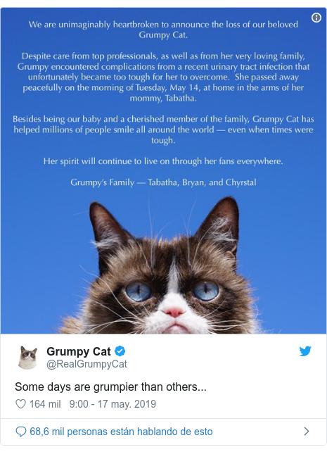 Publicación de Twitter por @RealGrumpyCat: Some days are grumpier than others...