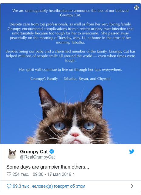 Twitter пост, автор: @RealGrumpyCat: Some days are grumpier than others...