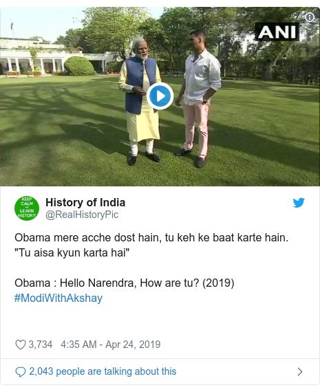 "Twitter post by @RealHistoryPic: Obama mere acche dost hain, tu keh ke baat karte hain. ""Tu aisa kyun karta hai""Obama   Hello Narendra, How are tu? (2019)  #ModiWithAkshay"