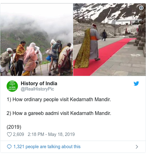 Twitter post by @RealHistoryPic: 1) How ordinary people visit Kedarnath Mandir.2) How a gareeb aadmi visit Kedarnath Mandir.(2019)