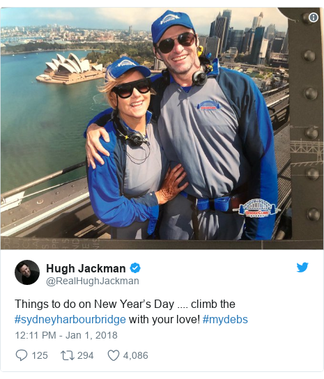 Twitter post by @RealHughJackman: Things to do on New Year's Day .... climb the #sydneyharbourbridge with your love! #mydebs