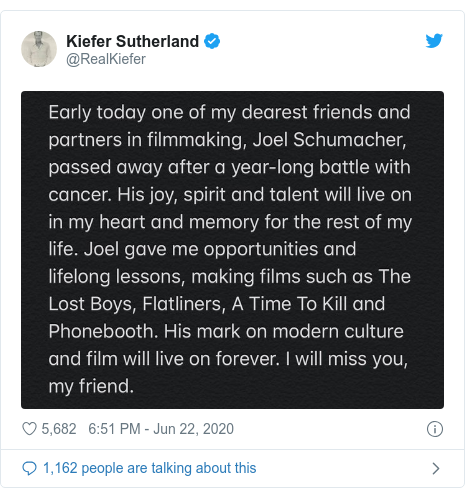 Twitter post by @RealKiefer: