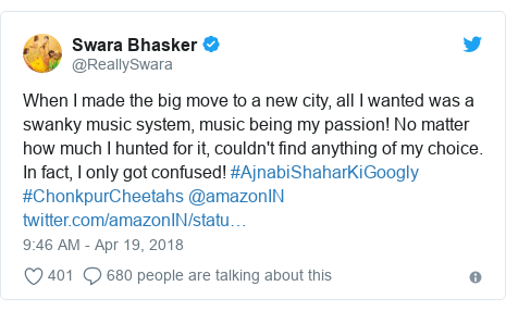 Twitter post by @ReallySwara: When I made the big move to a new city, all I wanted was a swanky music system, music being my passion! No matter how much I hunted for it, couldn't find anything of my choice. In fact, I only got confused! #AjnabiShaharKiGoogly #ChonkpurCheetahs @amazonIN