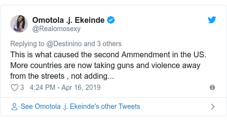 Twitter post by @Realomosexy: This is what caused the second Ammendment in the US. More countries are now taking guns and violence away from the streets , not adding...