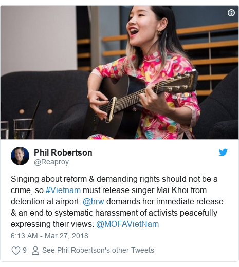 Twitter post by @Reaproy: Singing about reform & demanding rights should not be a crime, so #Vietnam must release singer Mai Khoi from detention at airport. @hrw demands her immediate release & an end to systematic harassment of activists peacefully expressing their views. @MOFAVietNam