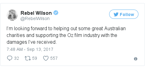 Twitter post by @RebelWilson: I'm looking forward to helping out some great Australian charities and supporting the Oz film industry with the damages I've received.