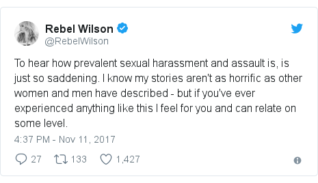 Twitter post by @RebelWilson: To hear how prevalent sexual harassment and assault is, is just so saddening. I know my stories aren't as horrific as other women and men have described - but if you've ever experienced anything like this I feel for you and can relate on some level.
