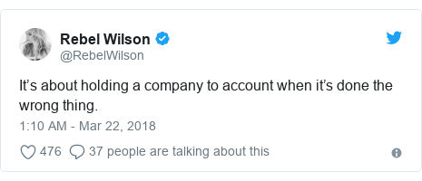 Twitter post by @RebelWilson: It's about holding a company to account when it's done the wrong thing.