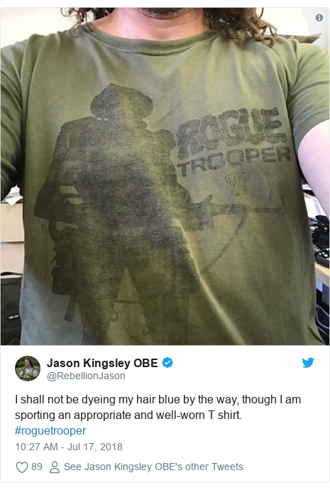 Twitter post by @RebellionJason: I shall not be dyeing my hair blue by the way, though I am sporting an appropriate and well-worn T shirt. #roguetrooper
