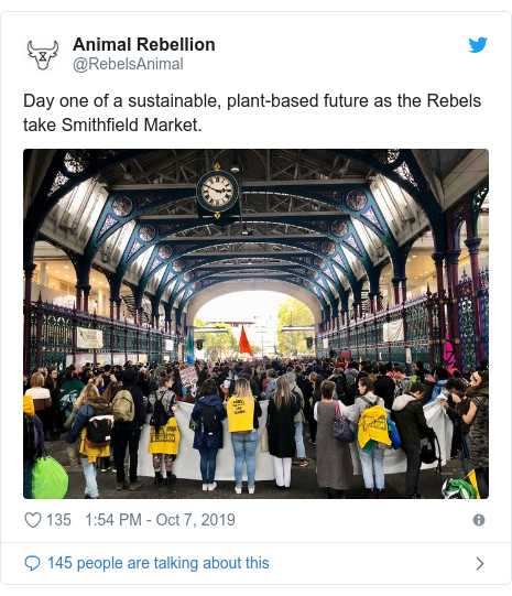 Twitter post by @RebelsAnimal: Day one of a sustainable, plant-based future as the Rebels take Smithfield Market.