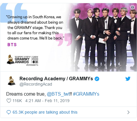 Twitter post by @RecordingAcad: Dreams come true, @BTS_twt!! #GRAMMYs