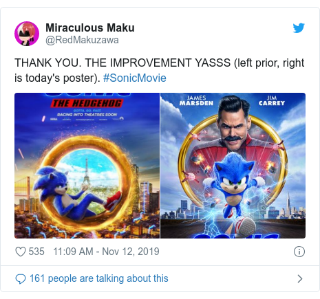 Twitter post by @RedMakuzawa: THANK YOU. THE IMPROVEMENT YASSS (left prior, right is today's poster). #SonicMovie