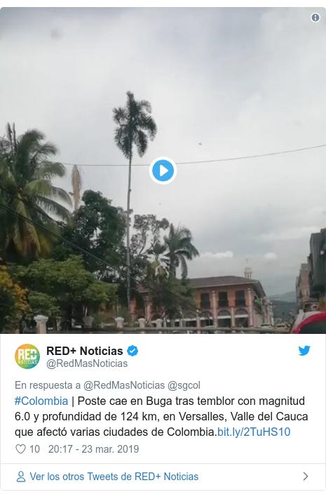 Publicación de Twitter por @RedMasNoticias: #Colombia   Poste cae en Buga tras temblor con magnitud 6.0 y profundidad de 124 km, en Versalles, Valle del Cauca que afectó varias ciudades de Colombia.
