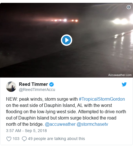Twitter post by @ReedTimmerAccu: NEW  peak winds, storm surge with #TropicalStormGordon on the east side of Dauphin Island, AL with the worst flooding on the low-lying west side. Attempted to drive north out of Dauphin Island but storm surge blocked the road north of the bridge. @accuweather @stormchasetv