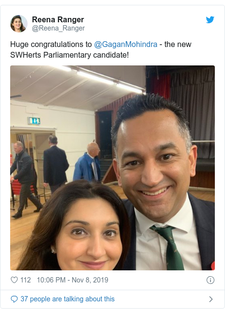 Twitter post by @Reena_Ranger: Huge congratulations to @GaganMohindra - the new SWHerts Parliamentary candidate!
