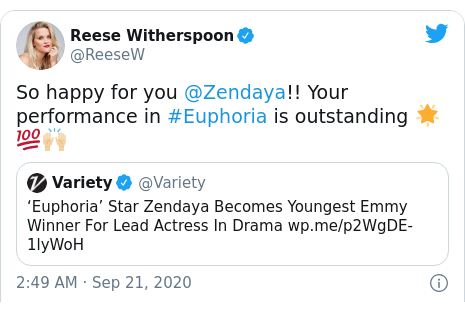 Twitter post by @ReeseW: So happy for you @Zendaya!! Your performance in #Euphoria is outstanding 🌟💯🙌🏼