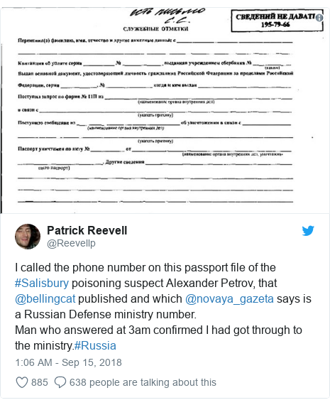 Twitter post by @Reevellp: I called the phone number on this passport file of the #Salisbury poisoning suspect Alexander Petrov, that @bellingcat published and which @novaya_gazeta says is a Russian Defense ministry number.Man who answered at 3am confirmed I had got through to the ministry.#Russia