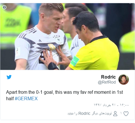 پست توییتر از @RefRod: Apart from the 0-1 goal, this was my fav ref moment in 1st half #GERMEX