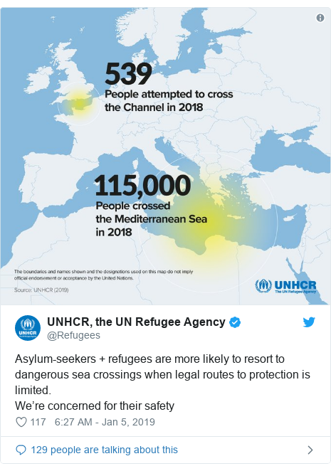 Twitter post by @Refugees: Asylum-seekers + refugees are more likely to resort to dangerous sea crossings when legal routes to protection is limited.We're concerned for their safety