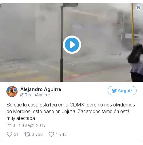 Publicación de Twitter por @RegioAguirre: Sé que la cosa está fea en la CDMX, pero no nos olvidemos de Morelos, esto pasó en Jojutla. Zacatepec también está muy afectada pic.twitter.com/fWAAgMryd5